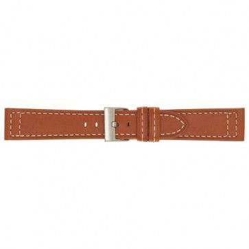 Horlogeband oranje leder 24mm 423