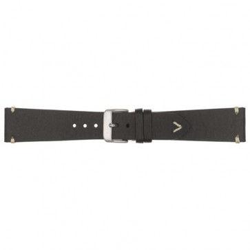 Horlogeband 22mm leder zwart 675