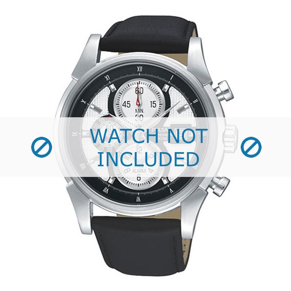 7a275942cf1 Pulsar horlogeband PF3939X1 / YM62 X227 / YM62 X228 Leder Zwart 22mm +  zwart stiksel