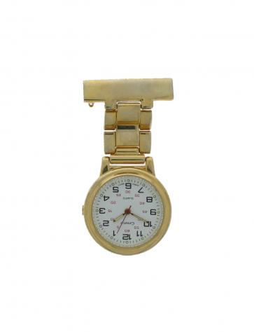 E968 unisex verpleegsterhorloge / -klok Staal Goud (Doublé)