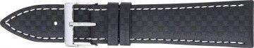 Carbon horlogeband zwart met wit stiksel 24mm PVK-321.01