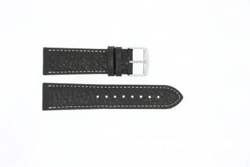 Horlogeband 307.01 Leder Zwart 20mm + wit stiksel