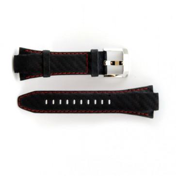 Seiko horlogeband leder met rood stiksel 7T62-0ED0 / SNA633P1