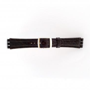 Band passend aan swatch donker bruin leder 19mm 21412