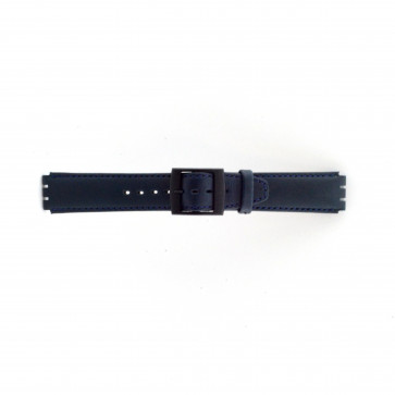 Horlogeband Swatch SC11.05 Leder Blauw 17mm