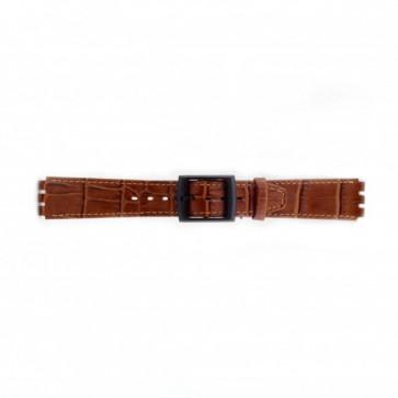 Band passend aan Swatch croco bruin 16mm PVK-SC16.03