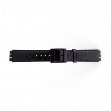 Horlogeband Swatch SC10.01 Leder Zwart 17mm