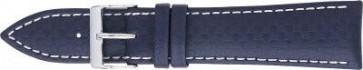 Carbon horlogeband donker blauw met wit stiksel 24mm PVK-321