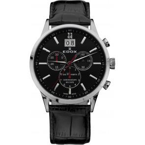 Horlogeband Edox 10010-473282-222194 Leder Zwart 21mm