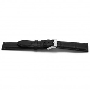 Horlogeband Alligator leder zwart 20mm EX-G134