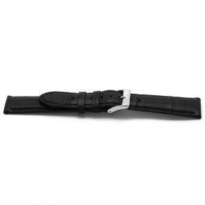 Horlogeband Alligator leder zwart 22mm EX-H134
