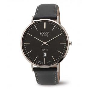 Horlogeband Boccia 3589-02 Leder Zwart 20mm
