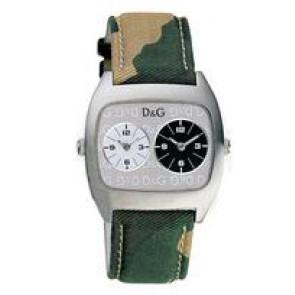 Dolce & Gabbana horlogeband 3719240255 Leder/Textiel Groen 22mm + beige stiksel
