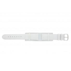 Horlogeband 61325.11.20 Leder Wit 20mm + wit stiksel