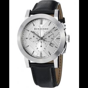 Horlogeband Burberry BU9358 / 7177850 Leder Zwart