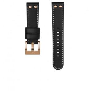 TW Steel horlogeband CEB105 / CE105 Leder Zwart 22mm + wit stiksel