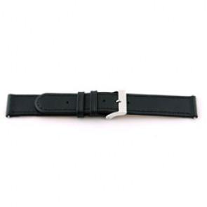 Echt lederen horloge band zwart 20mm met stiksel EX-G100