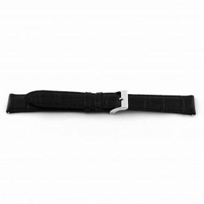 Horlogeband Universeel D015 XL Leder Zwart 14mm