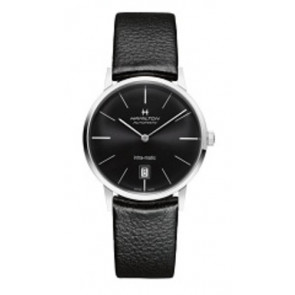 Horlogeband Hamilton H384551 / H38455751 / H600384105 Leder Zwart 20mm