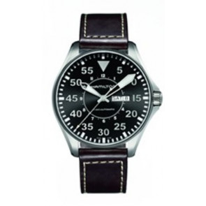 Horlogeband Hamilton H64715535 Leder Donkerbruin 22mm