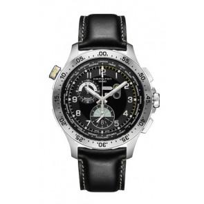 Horlogeband Hamilton H76714735 Leder Zwart 22mm