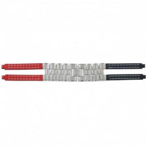 Tommy Hilfiger horlogeband F80132 / 1780068 Leder Rood / Blauw 4mm