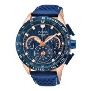 Horlogeband Pulsar VK63-X001-PU2082X1 Leder Blauw
