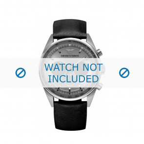 Armani horlogeband AR5994 Leder Zwart 23mm