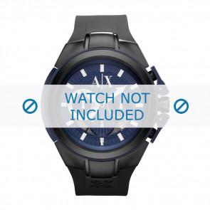 Armani horlogeband AX-1114 Silicoon Zwart 14mm