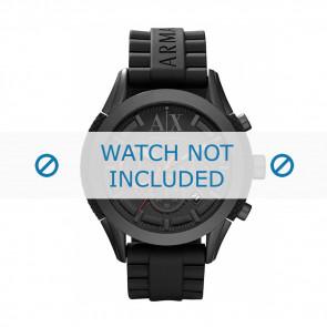 Armani horlogeband AX-1212 Silicoon Zwart 22mm
