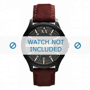 Armani horlogeband AX-2130  Leder Bruin 22mm + bruin stiksel