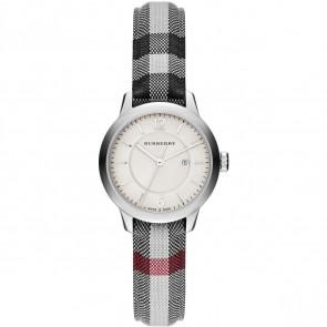 Horlogeband Burberry BU10103 Leder/Textiel Grijs