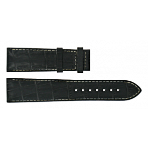 Certina horlogeband C610014940 Leder Zwart 21mm + wit stiksel