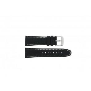 Lotus horlogeband 15536 Leder Zwart 26mm + wit stiksel