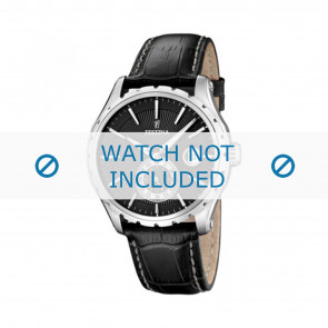 Festina horlogeband F16486/1 Leder Zwart 23mm + wit stiksel
