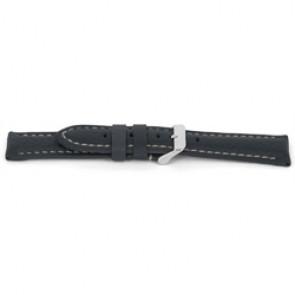 Horlogeband G080 XL Leder Grijs 20mm + wit stiksel