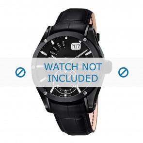 Jaguar horlogeband J681-A / J681-B Leder Zwart + zwart stiksel