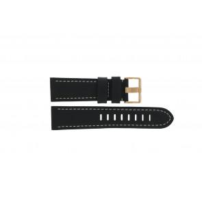 Prisma horlogeband LEDZWR Leder Zwart 23mm + wit stiksel