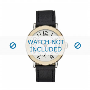 Marc by Marc Jacobs horlogeband MJ1514 Leder Zwart 18mm + zwart stiksel