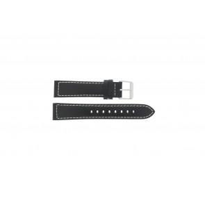 Max horlogeband Leder Zwart 24mm