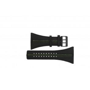 Police horlogeband PL13497JSB.02 / GR Leder Zwart 44mm + groen stiksel
