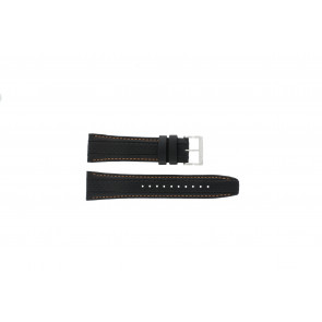 Seiko horlogeband 7T62-0HL0 / SNAB59P1 / SNAB59JC / SNAB59J1 Leder Zwart 24mm + oranje stiksel