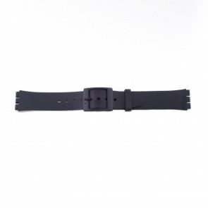 Kunststof band zwart passend aan swatch dunne uitvoering 17mm