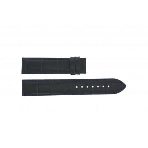 Tissot horlogeband T055.417.16.047.00 - T610032786 / T055.410.16.047.00 Croco leder Blauw 19mm + zwart stiksel
