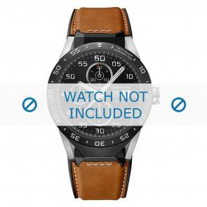 Tag Heuer horlogeband FT6070 Leder Cognac + wit stiksel