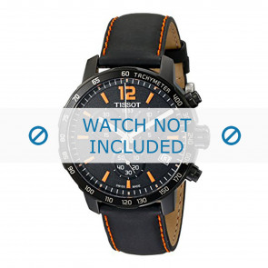Tissot horlogeband T095.417.360.570.0 - T600035367 / T095.417.A Leder Zwart 19mm + oranje stiksel